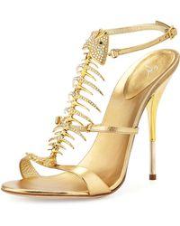 Giuseppe Zanotti Crystal Fishbone Metallic Sandal - Lyst