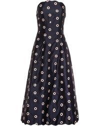 OSMAN Scalloped Silk Bustier Dress black - Lyst