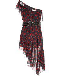Saint Laurent - Cherry-Print One-Shoulder Asymmetric Dress - Lyst