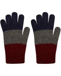 Oliver Spencer - Red Tri Colour Wool Blend Gloves - Lyst