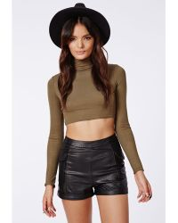 Missguided Violett Pu Cargo Shorts Black - Lyst