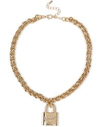 River Island Gold Tone Padlock Necklace - Lyst