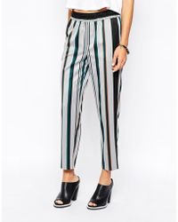 Asos Tapered Pants In Stripe gray - Lyst