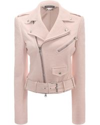 Alexander McQueen Cropped Leather Biker Jacket - Lyst