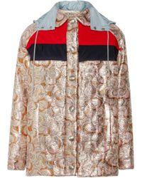 Miu Miu Hooded Metallic Jacquard Jacket - Lyst