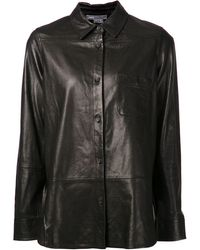 Vince Black Leather Shirt - Lyst
