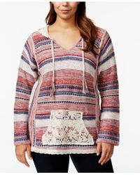 American Rag | Plus Size Printed V-neck Hooded Sweater, Only At Macy's | Lyst