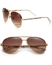 Gucci | 59mm Bamboo-detail Metal Aviator Sunglasses | Lyst