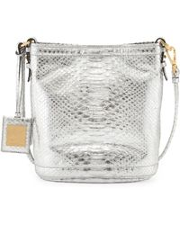 B Brian Atwood Britt Metallic Pythonprint Shoulder Bag Silver Foil - Lyst