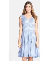 Tadashi Shoji Stripe Jersey Fit & Flare Dress - Lyst