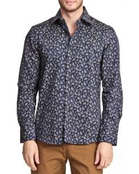 T.R. Premium - Printed Long Sleeve Button Down Paisley Shirt - Lyst