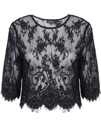 Topshop Womens Lace Embellished Crop Tee Black - Lyst