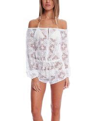 Loveshackfancy Vintage Lace Playsuit white - Lyst
