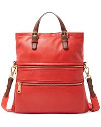 Fossil Explorer Leather Tote red - Lyst