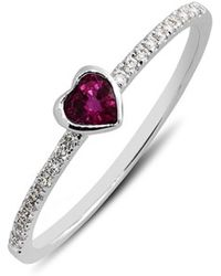 Bony Levy Heart Stone & Diamond Ring - Ruby/ White Gold (Limited Edition) (Nordstrom Online Exclusive) - Lyst