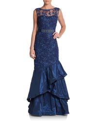 Teri Jon Lace Tiered Mermaid Gown - Lyst