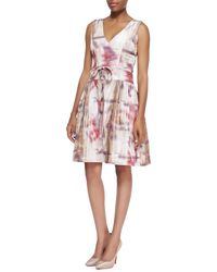 Monique Lhuillier Vneck Print Silk Cocktail Dress - Lyst