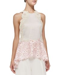 3.1 Phillip Lim Tank With Floral Lace Straps - Lyst