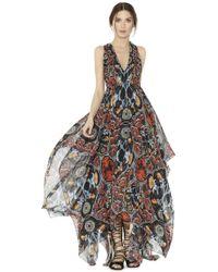 alice + olivia Kora Deep V Gathered Handkerchief Dress multicolor - Lyst