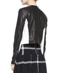 Alice + Olivia Leatherdetail 2tone Openfront Jacket Alice Olivia - Lyst