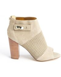 Dv By Dolce Vita Nude Faux Suede Perforated Detail Marana Ankle Boots - Lyst