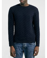 Topman Navy Zig Zag Texture Knitted Jumper - Lyst
