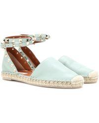 Valentino | Rockstud Double Leather Espadrille Sandals | Lyst