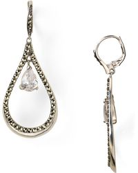Judith Jack - Sterling Silver Marcasite Teardrop Cubic Zirconia Earrings - Lyst