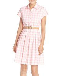 Eliza J | Check Cotton Poplin Shirtdress | Lyst