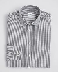 Armani Micro Gingham Dress Shirt Regular Fit - Lyst