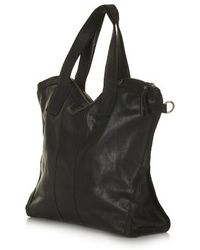 Topshop Black Leather Holdall - Lyst
