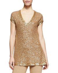 Donna Karan New York Sequined Cashmere Cap-sleeve Tunic - Lyst