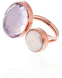 Toosis Pink Amethyst And Pearl Ring - Lyst