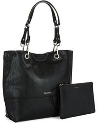 Calvin Klein Leather Tote Bag - Lyst