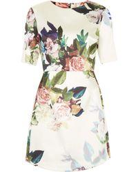 Topshop Blur Rose Print Satin A-Line Dress   - Lyst