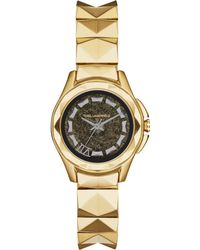 Karl Lagerfeld Unisex Karl 7 Goldtone Stainless Steel Studded Bracelet Watch 30mm - Lyst