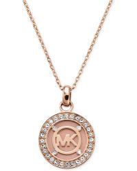 Michael Kors Rose Gold-Tone Blush Mk Logo Disc Necklace - Lyst