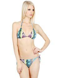 Roberto Cavalli Python Printed Lycra Triangle Bikini - Lyst