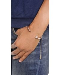Giles & Brother - Skinny Railroad Spike Pave Bracelet - Rose Gold/clear - Lyst