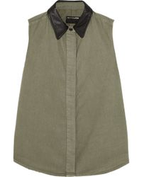 Rag & Bone Leather-trimmed Brushed Cotton-twill Shirt - Lyst