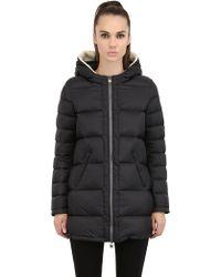 Colmar Originals Faux Fur Hooded Nylon Down Jacket - Lyst