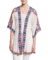Calypso St. Barth - Liridia Half-sleeve Embroidered Coverup - Lyst