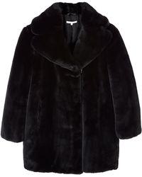 Carven Black Faux Fur Coat - Lyst