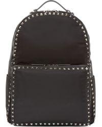 Valentino Black Nylon Studded Backpack - Lyst