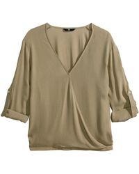 H&M Khaki Wraparound Blouse - Lyst
