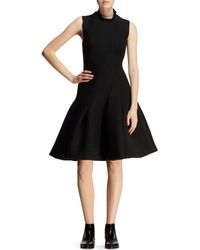Lanvin Biasseamed Flared Neoprene Dress - Lyst