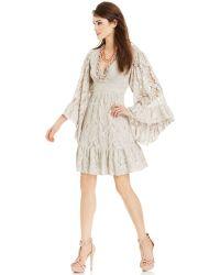Betsey Johnson Bell-Sleeve Ruffled Lace Dress - Lyst
