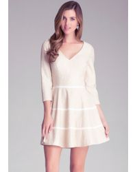 Bebe Lace Flared Dress - Lyst