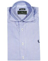 Fred Perry Shirt Stripped Italian Collar Slim Fit - Lyst
