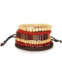 River Island - Red Rustic Beaded Bracelets Pack - Lyst